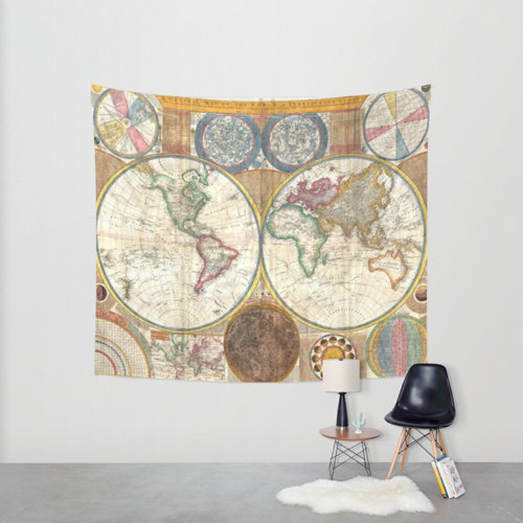 Old world map wall tapestry home decor by fromflorawithlove for Old world home decor