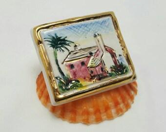 Handpainted Ceramic Pin