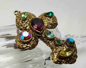 Colorful Jeweled Cross Pendant