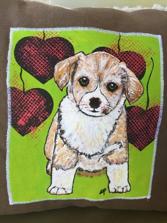 puppy love throw pillow lime green and brown by bagladiesboutique. Black Bedroom Furniture Sets. Home Design Ideas