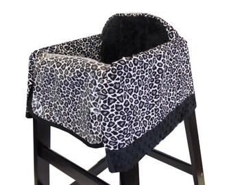 Gray Cheetah High Chair Cover Restaurant