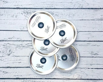Set of 12 Wide Mouth Mason Jar Lid with Hole // Mason Jar Lid and Grommet // Lid for Mason Jar Wide Mouth