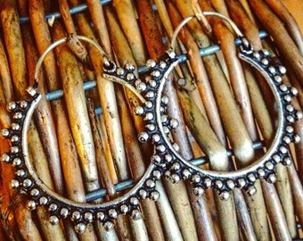 Sterling Silver .925 hoop earrings, tribal dotted design, ethnic boho gypsy earrings