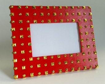 Red Picture Frame - Studded Picture Frame - 6x4 Picture Frame - Wood Picture Frame