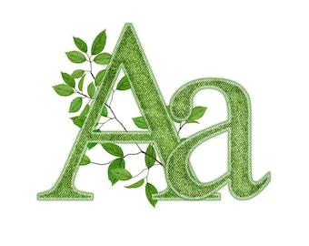 Digital alphabet green twig clipart denim alphabet floral alphabet Digital alphabet green branches  signs Floral Monogram / Flowers ABC