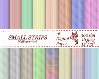 Stripes Digital Paper scrapbooking Instant download strips pattern 16 colors Personal and Commercial Use