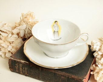 Vintage French Holy communion gift set. Cup and saucer. Porcelain.