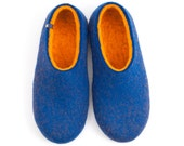 Quality felted wool slippers, house clogs/ DUAL BLUE orange by Wooppers woolen slippers / felt slippers /gift for man / mens house shoes