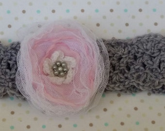 Crochet Baby Headband, handmade  with Fabric Flower