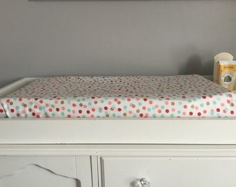 coral and torquoise changing pad cover fitted crib sheet polka dots crib sheet