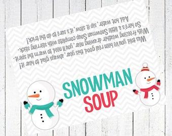 snowman soup printable bag topper - Snowman Soup Bag Topper Printable