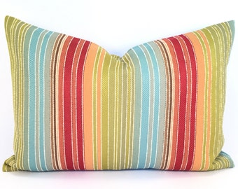 Rainbow-Striped Pillow Cover with Fresh White Topstitching in Red, Blue, Bright Green & Juicy Orange