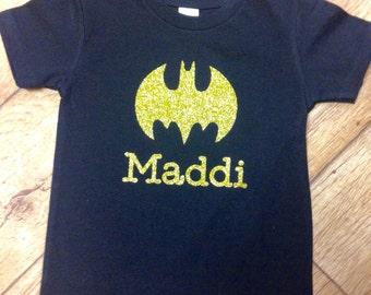 Batman Shirt,  Shirt, Gold Glitter Batman Shirt, Custom Made sparkly Batman Shirt