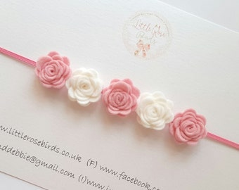 Baby/Girl Mini Felt Rose Headband on Skinny Elastic, Flower Girl, Flower Headband, Christening, Rose Headband Can be Made In Any Colour!