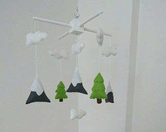 Mountain and fir trees nursery mobile, mountain baby mobile