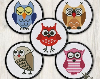 FIVE Owl Cross Stitch Patterns (collection#3),  modern cross stitch pattern, needlecraft