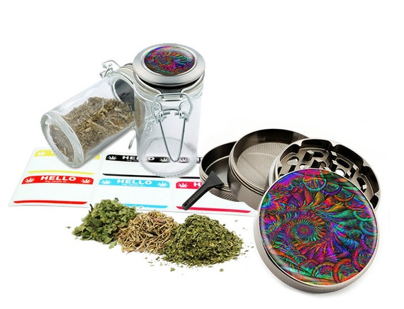 "Psychedelic - 2.5"" Zinc Alloy Grinder & 75ml Locking Top Glass Jar Combo Gift Set Item # 110514-0018"