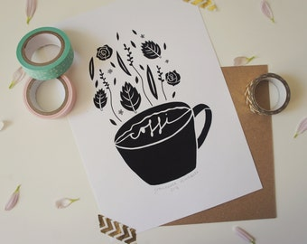 A5 Coffi Coffee Welsh Illustration Giclee Print