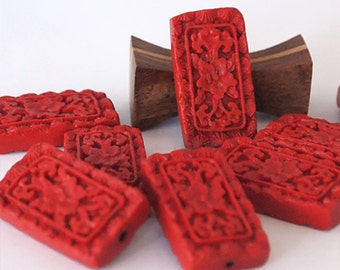2 Red Cinnabar Pendants Beads Carved Rectangle Flat Size 32 x 18mm