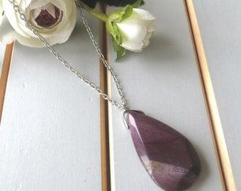 Stone necklace, long silver necklace, boho necklace, large stone pendant, natural stone necklace