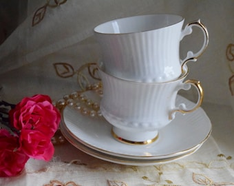 "Churchill Group's Elizabethan ""Charmaine"" Fine Bone China tea cups and saucers x 2"