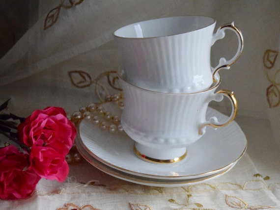 """Churchill Group's Elizabethan """"Charmaine"""" Fine Bone China white and gold rimmed tea cup and saucer, birthday, wedding gift, anniversary gift"""