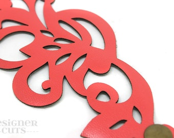 Laser cut leather cuff bracelet - Bright coral swirl filigree design