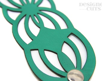 Laser cut leather cuff bracelet - Green geometric design