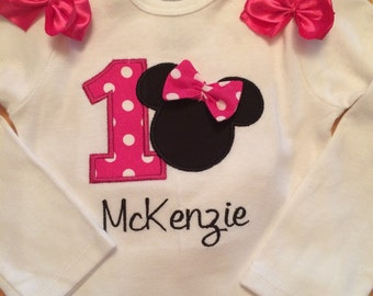Girly Mouse First Birthday Outfit