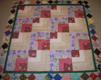 "Handmade Quilt Top*Modified Log Cabin Top*Log Cabin Quilt Top*Size 46""*Scrappy Quilt*Dozens Of Fabric's*Unfinished Quilt Top*Lap Quilt"