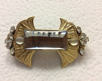 Deco brooch with Rhinestone Crystal large rectangle.