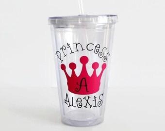 Princess Tumbler, Crown Decal, Princess Cup, Tiara Decal, Children's Princess Tumbler