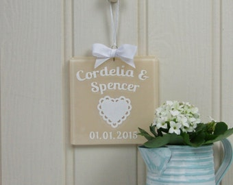 Personalised Handmade Fused Glass Wedding Keepsake with Confetti Heart Papercut by Jessica Irena Smith