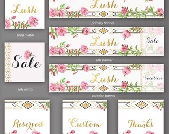 Etsy Store Banner, Lush - 8 Piece Set, Store Graphics, Etsy Shop Banner Set, Avatar, DIY Shop Banner, Graphic Design, Shop Icon