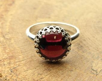 Garnet Silver Ring Red Gemstone Sterling Silver Ring