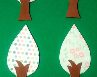 12 die cut paper TREE SET, card toppers, paper piecings, party decor, paper art, embellishment, crafts, card making, baby shower,