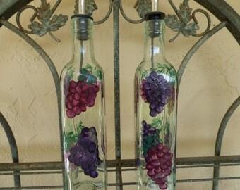 Hand Painted Grape Clusters Oil Dispenser-1, Soap Dispenser, Kitchen Decor