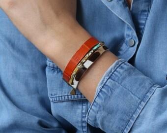 Mutltirang leather, Liberty, charms bracelet