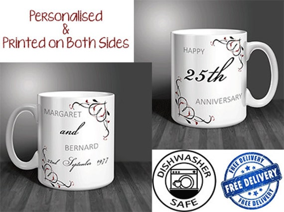 Perfect Gift For 25th Wedding Anniversary: 25th Wedding Anniversary Personalised Mug Set PAIR. Perfect