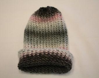 Pink, White, Gray, and Black Handmade Kids Winter Hat