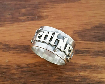 Personalized Name Ring / Name Ring / Men's Women's Gothic Ring / Old English Vintage style ring / wedding ring / sterling silver ring