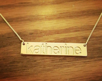 14k Gold Bar Necklace/ Bar Name Necklace / Pure Gold Bar Necklace / Kim Kardashian Gold Bar Necklace / Black Friday Sale cyber Monday Sale!