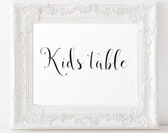 Kids table sign Printable Wedding signs Wedding printables Reception decorations Wedding signage printable Kids table Wedding decor signs