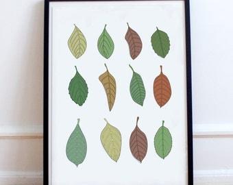 Autumn Leaves Poster Print-  Seasonal wall decor Minimalist artwork, Tree, Leaf, Fall, Pastel