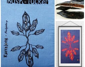 art teatowel handpainted & screenprinted * frameable bushtucker tea towel