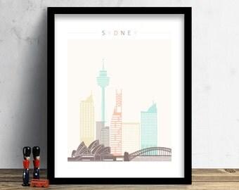 Sydney Skyline, Print, Watercolor Print, Wall Art, Watercolor Art, City Poster, Australia Cityscape, Home Decor, Christmas Gift PRINT