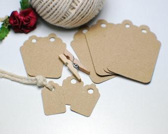 Tags kraft rectangular medium 4x2,4cm for artisans , shopping , gifts , weddings, diy, setting prices , names , messages