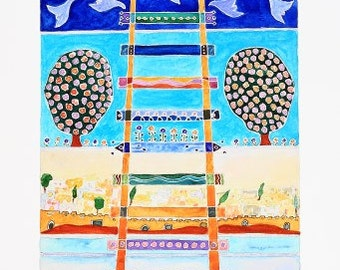 """watercolor contemporary fine art """"jacobs ladder"""""""
