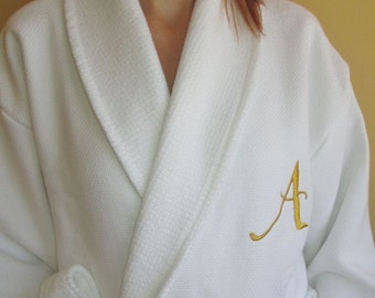 Luxury Woman Ladies Gold Monogram and Name Personalized Waffle / Terry White Bathrobe