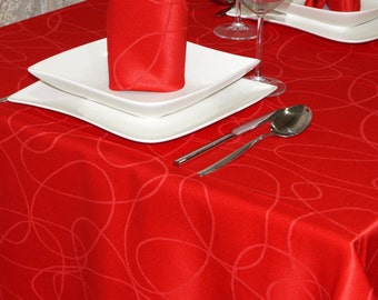 Luxury Red Tablecloth - Anti Stain Proof Resistant - Large sizes - Ref. Lines